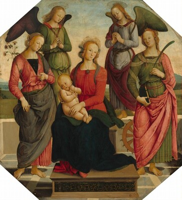 Madonna and Child with Two Angels, Saint Rose, and Saint Catherine of Alexandria