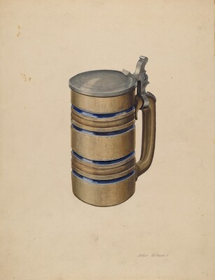 Stoneware and Pewter Beer Mug