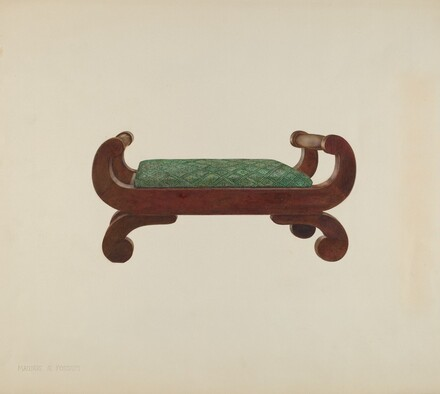 Foot Stool - Mahogany with Horse Hair Covering