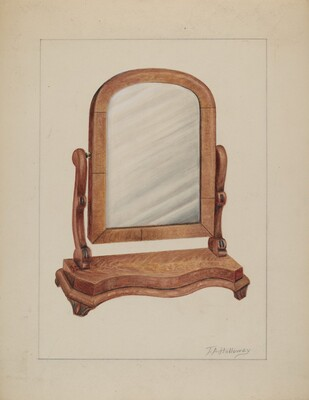 Mirror with Wood Base
