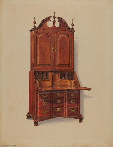 This Imposing Secretary Is A Typical Form Favored In The Chippendale  Period. Rather Than Having The Common Ball And Claw Foot, ...