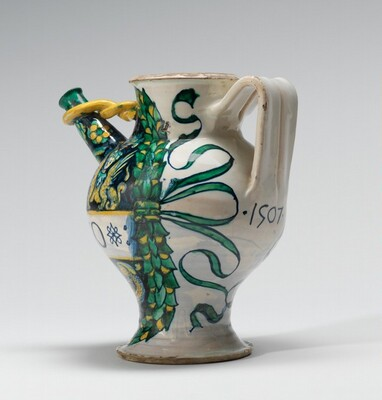 Spouted drug jar with sphinxes