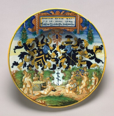 Plate with a heraldic design after Hans Sebald Lautensack