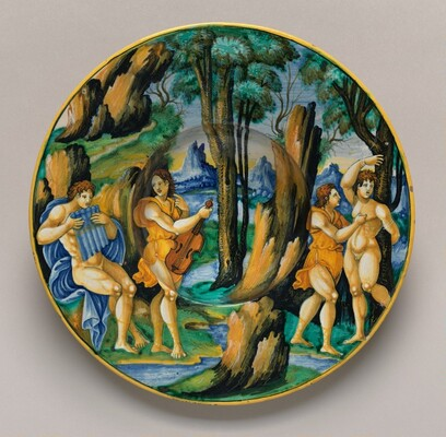 Plate with Apollo and Marsyas