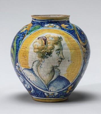 Drug jar with heads of women