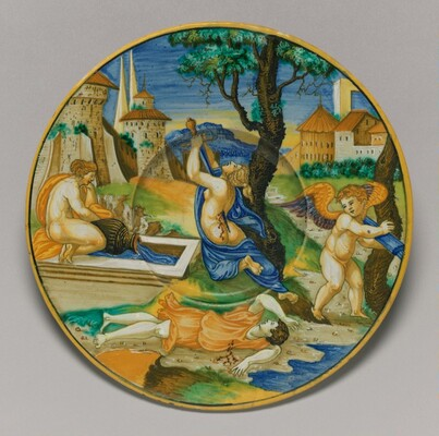 Plate with Pyramus and Thisbe