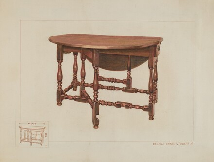 Eight Leg Table with Drawer