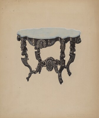 Ebony, Marble-top Table