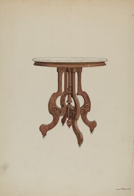 Center Table, with Marble Top