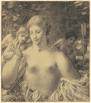 Female Nude With Two Cupids
