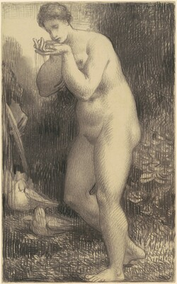 Standing Female Nude Drinking at a Fountain
