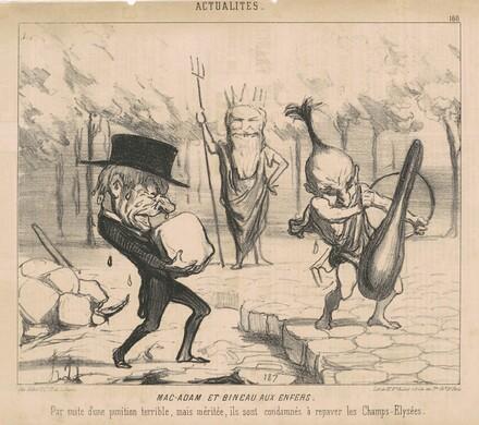 Mac-Adam [sic] et Bineau aux enfers. Par suite d'une punition terrible, mais méritée, ils sont condamnés à repaver les Champs Elysées.
