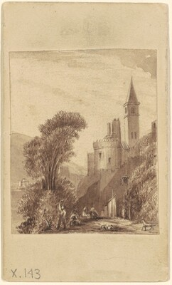 Lanscape with Towered Building and Figures