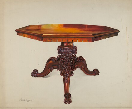 Carved Mahogany Table