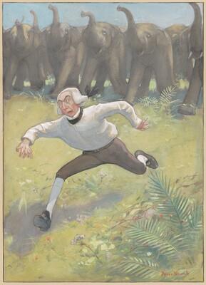 Man Running from Elephants