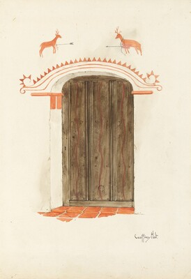 Restoration Drawing: Wall Decoration Over Doorway, Facade of Mission-House