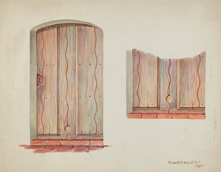 Restoration Drawing: Wall Decoration over Doorway, Facade of Mission House