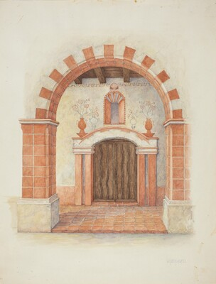 Restoration Drawing: Main Doorway & Arch to Mission House