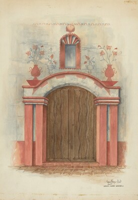 Restoration Drawing: Main Doorway, with Decorations, Mission House