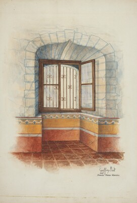 Restoration Drawing: Wall Painting Around Window, with Grille