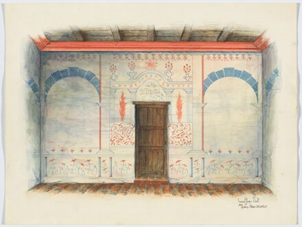 Restoration Drawing: Wall Painting; Door