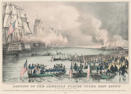 Landing of the American Forces under Genl. Scott: At Vera Cruz March 9th 1847