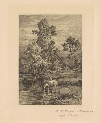 Landscape with Horses Drinking