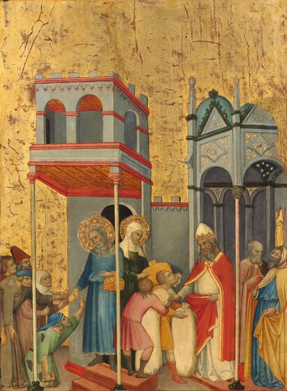 Joachim and Anna Giving Food to the Poor and Offerings to the Temple