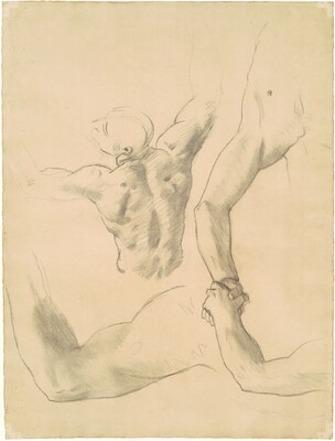 Studies for Two Classical Male Figures Wrestling
