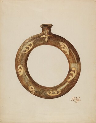 Ring-shaped Pottery Bottle