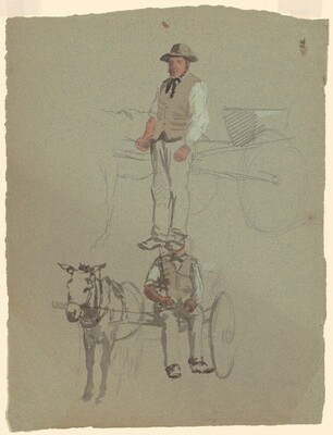 Studies of a Man and Horse Cart