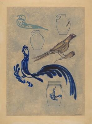 Bird Decorations on Stoneware