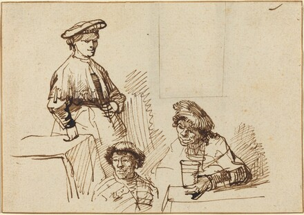 Sketches from a Tavern: Woman Standing and Two Men Seated