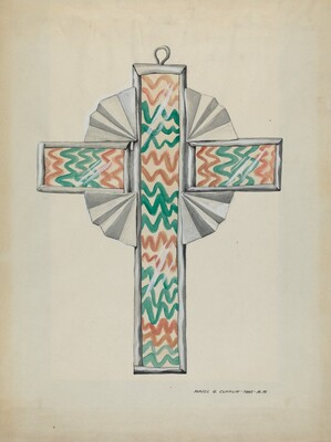 Tin and Painted Glass Cross