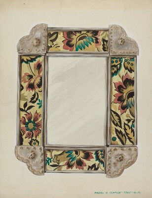Mirror, Framed with Wall Paper Panels, Bordered in Tin