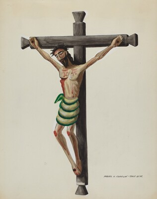 Cristo, Carved and Painted, on Black Carved Wooden Cross