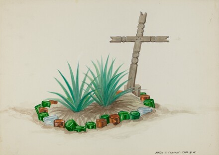 Child's Grave with Wooden Cross - Bottle Decorations