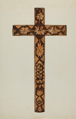 Straw Inlay Cross