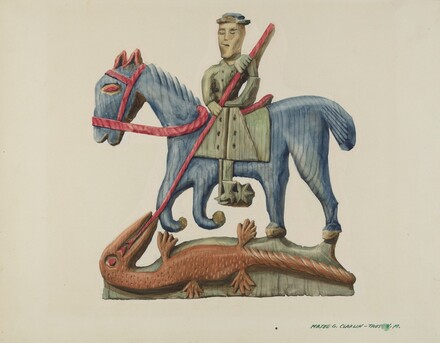 Saint George & the Dragon, Carved Out of Section of Plank - Painted