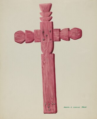 Red Wooden Cross used as Headstone