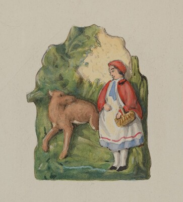 Pottery Ornament of Little Red Riding Hood