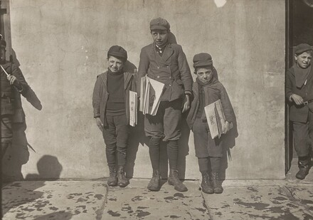 John Pento, 14 years old, Daniel and Angelo Pento, 7 years old, selling newspapers, Hartford, Connecticut