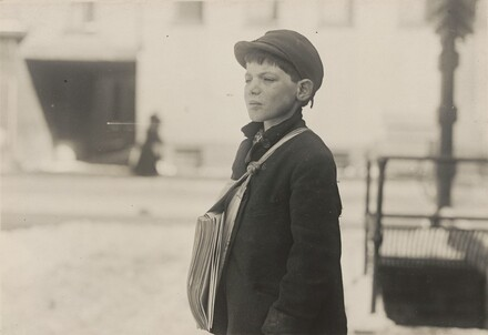 Tony Casale, Bologna, 11 years old been selling newspapers for 4 years, Hartford, Connecticut, March 1909