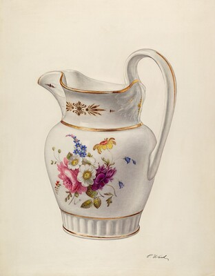 White Glazed Porcelain Pitcher