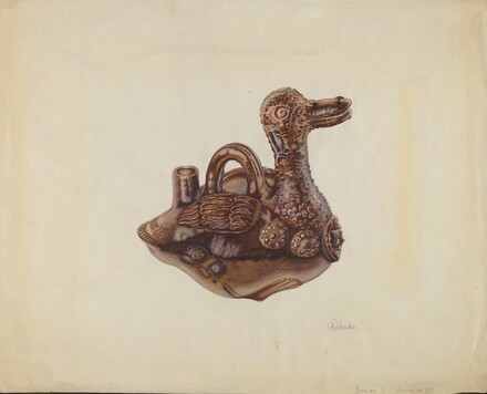 Glazed Pottery Duck Bottle