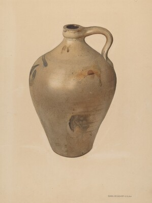 Tan Stoneware Jug