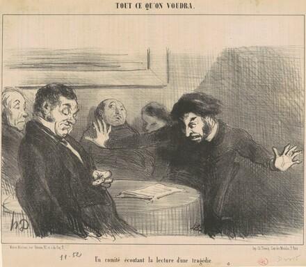 Un comité écoutant la lecture d'une tragédie