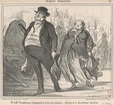 Mr et Mme Prudohomme revenant de la foire ...