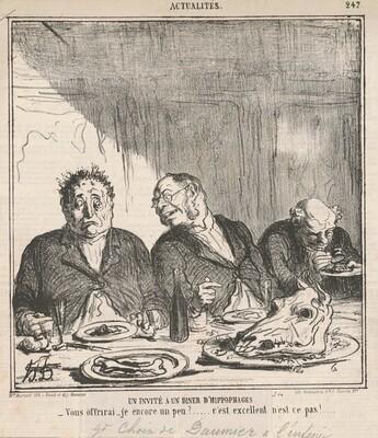 Un invité à un dîner d'hippophages: Vous offrirai-je encore un peu?  C'est excellent, n'est-ce pas?