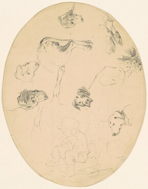 Studies of Dogs and a Seated Boy [recto]